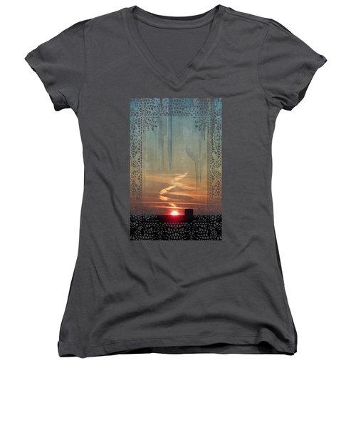 Urban Sunrise Women's V-Neck T-Shirt (Junior Cut) by Ivana Westin