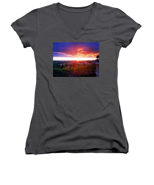 Urban Sunset Women's V-Neck T-Shirt