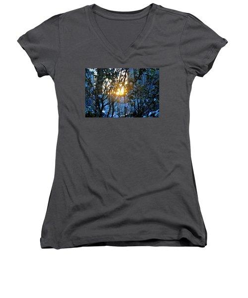 Urban Sunset Women's V-Neck T-Shirt (Junior Cut) by Sarah McKoy