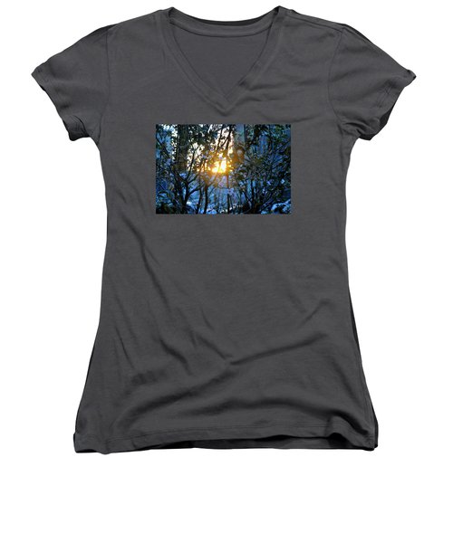 Women's V-Neck T-Shirt (Junior Cut) featuring the photograph Urban Sunset by Sarah McKoy