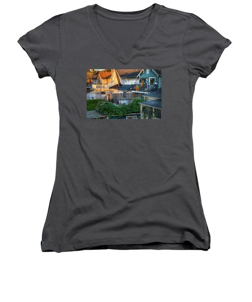 Women's V-Neck T-Shirt (Junior Cut) featuring the photograph Urban Vancouver by Theresa Tahara