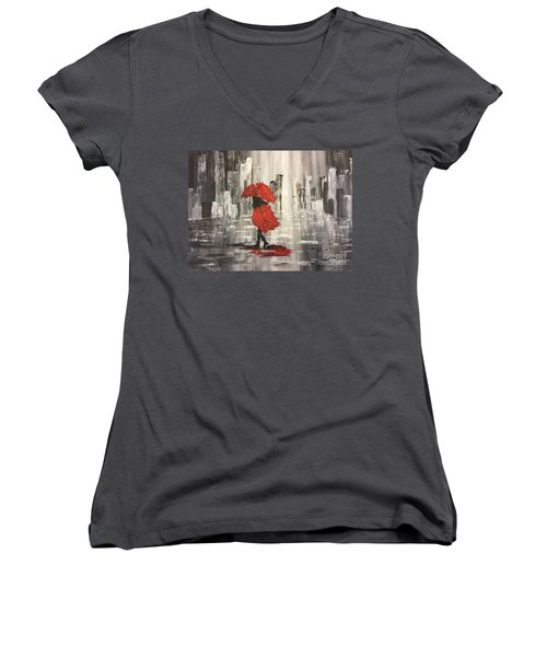 Urban Walk In The Rain Women's V-Neck T-Shirt (Junior Cut) by Lucia Grilletto