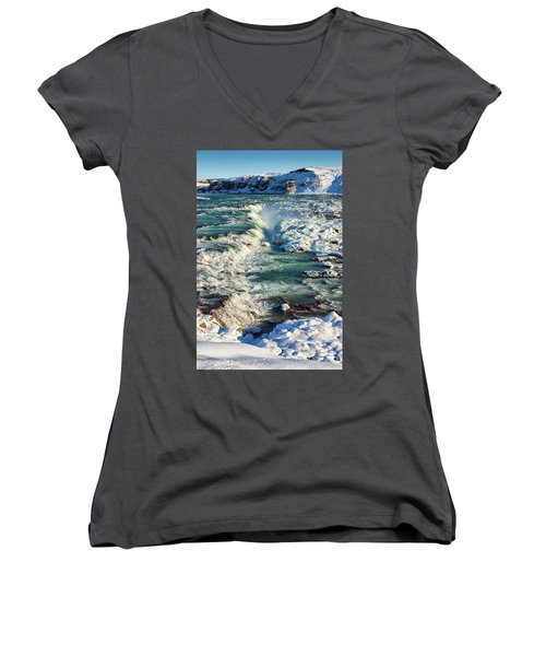 Urridafoss Waterfall Iceland Women's V-Neck T-Shirt (Junior Cut) by Matthias Hauser