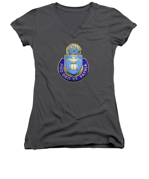 Women's V-Neck T-Shirt (Junior Cut) featuring the digital art U. S. Army Chaplain Corps - Regimental Insignia Over Blue Velvet by Serge Averbukh