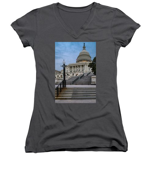 Women's V-Neck T-Shirt (Junior Cut) featuring the photograph Us Capitol Building Twilight by Susan Candelario