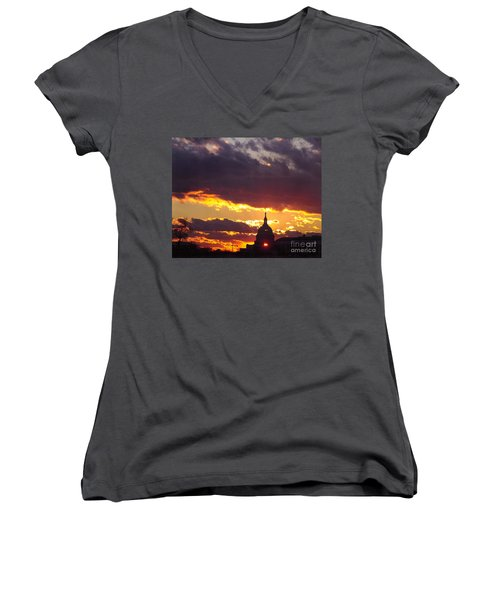 U.s. Capitol Dome At Sunset Women's V-Neck (Athletic Fit)
