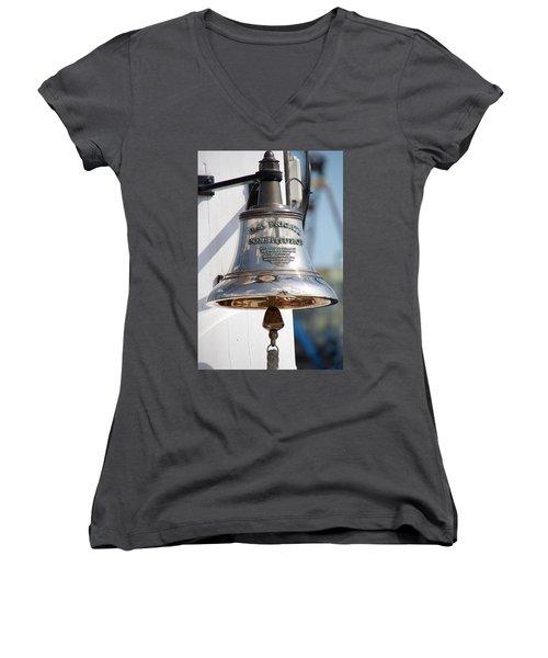 Us Frigate Bell Women's V-Neck T-Shirt (Junior Cut) by Caroline Stella