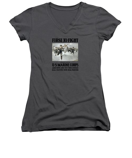 Us Marine Corps - First To Fight  Women's V-Neck T-Shirt (Junior Cut) by War Is Hell Store