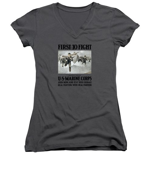 Us Marine Corps - First To Fight  Women's V-Neck (Athletic Fit)