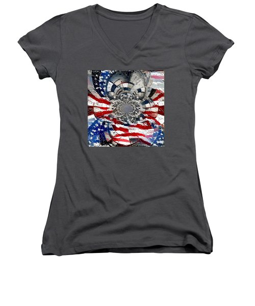 Usa Patriot Women's V-Neck (Athletic Fit)