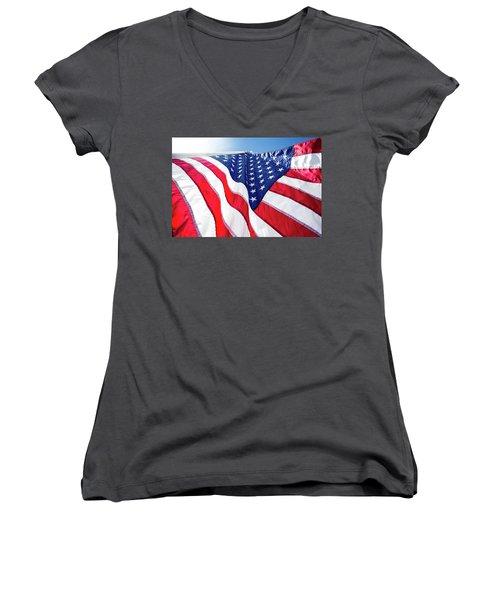 Usa,american Flag,rhe Symbolic Of Liberty,freedom,patriotic,hono Women's V-Neck T-Shirt (Junior Cut) by Jingjits Photography