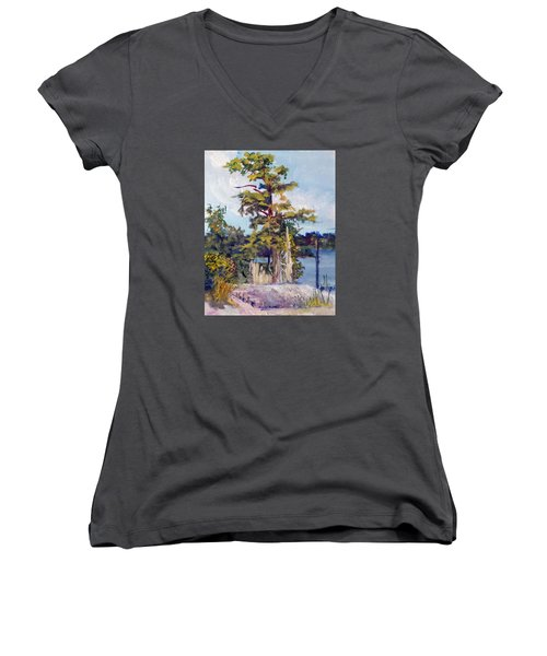 Women's V-Neck T-Shirt (Junior Cut) featuring the painting Used To Be by Jim Phillips