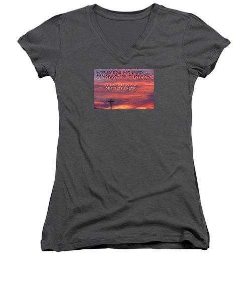 Useless Emotions Women's V-Neck T-Shirt (Junior Cut) by David Norman