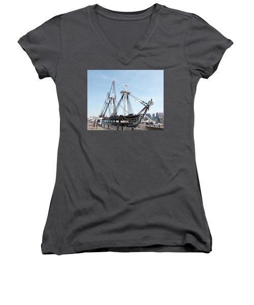 Uss Constitution Dry Dock Women's V-Neck T-Shirt