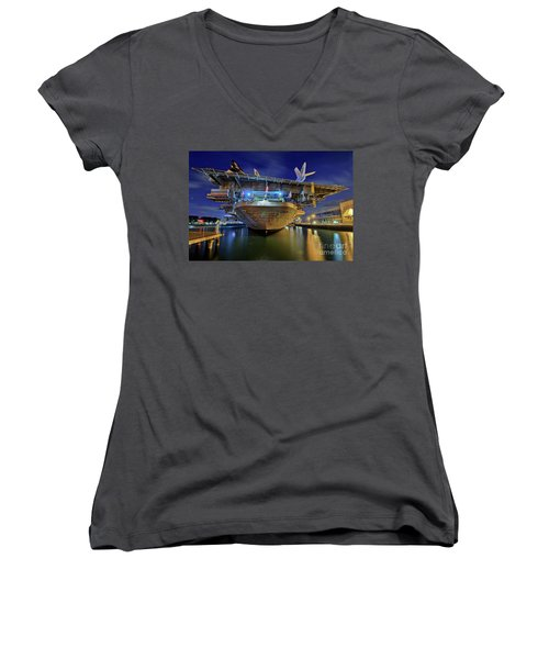Uss Midway Aircraft Carrier  Women's V-Neck (Athletic Fit)
