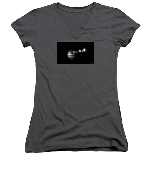 Uss Savannah Approaching Jupiter Women's V-Neck T-Shirt (Junior Cut) by David Robinson