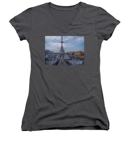 Uss Wisconsin  Women's V-Neck T-Shirt (Junior Cut) by Melissa Messick