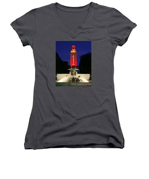 Women's V-Neck T-Shirt (Junior Cut) featuring the photograph Ut Austin Tower Orange by Lisa  Spencer