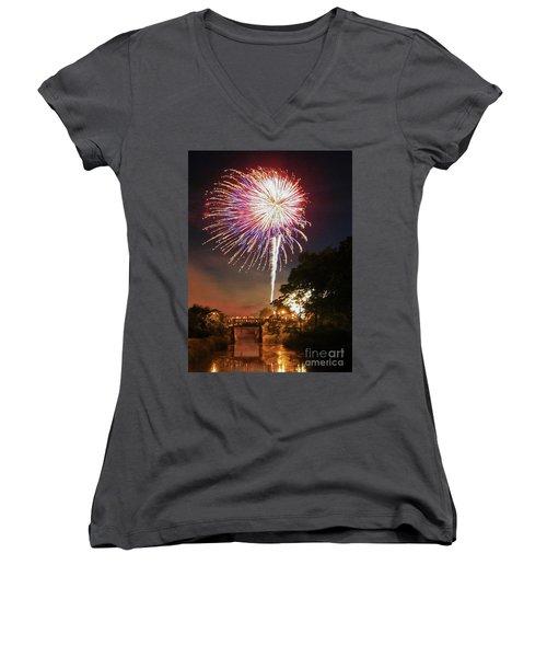 Women's V-Neck T-Shirt (Junior Cut) featuring the photograph Utica Fireworks by Paula Guttilla
