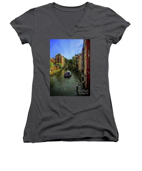 Women's V-Neck T-Shirt (Junior Cut) featuring the photograph Utrecht, Holland by John Kolenberg