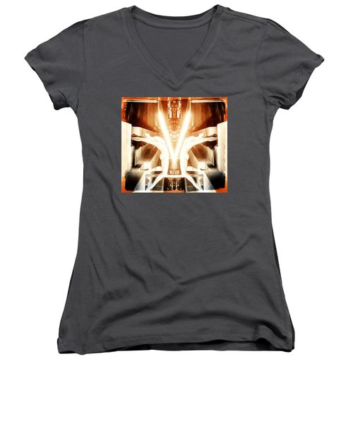 Women's V-Neck T-Shirt (Junior Cut) featuring the digital art V For Victory by Andrea Barbieri