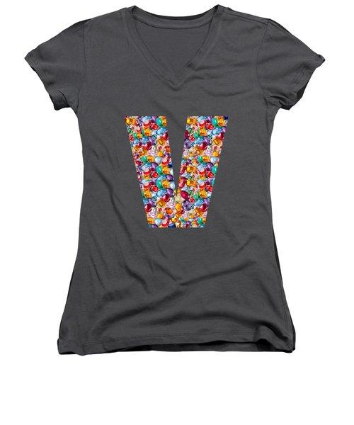 V Vv Vvv Jewels Alpha Art On Shirts Alphabets Initials   Shirts Jersey T-shirts V-neck   Navinjoshi  Women's V-Neck T-Shirt (Junior Cut) by Navin Joshi