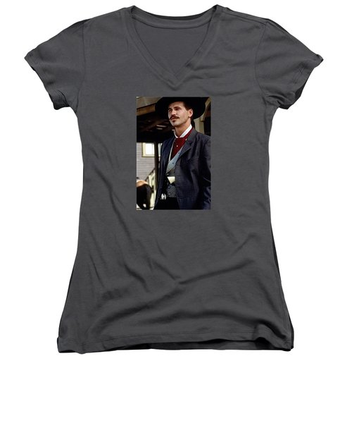 Val Kilmer As Doc Holliday Tombstone Set 1993-2015 Women's V-Neck (Athletic Fit)