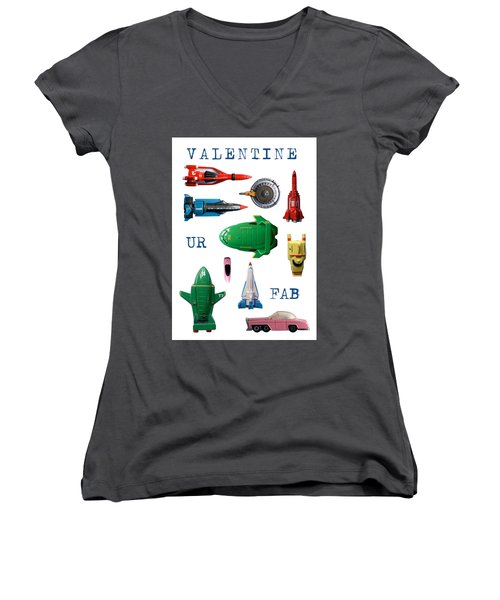 Valentine Ur Fab Women's V-Neck T-Shirt (Junior Cut) by John Colley