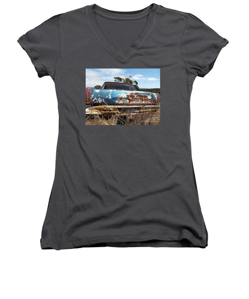 Women's V-Neck T-Shirt (Junior Cut) featuring the photograph Valiant View by Stephen Mitchell