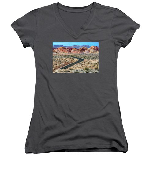 Road Through The Valley Of Fire Women's V-Neck