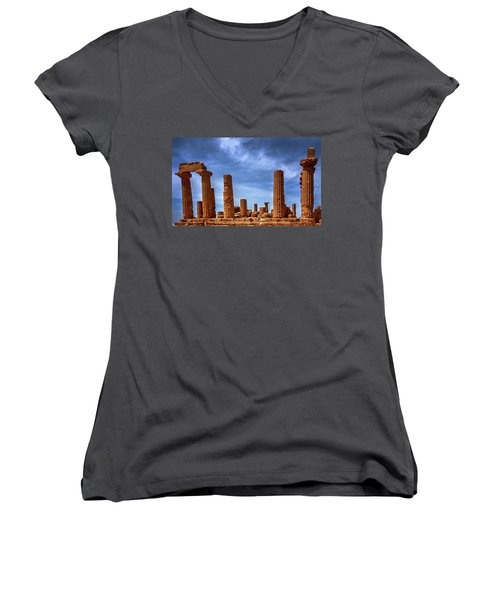 Valley Of The Temples IIi Women's V-Neck T-Shirt (Junior Cut) by Patrick Boening