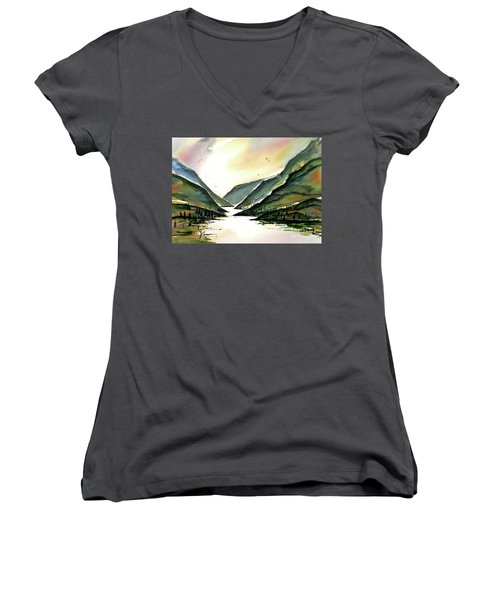 Women's V-Neck T-Shirt (Junior Cut) featuring the painting Valley Of Water by Terry Banderas