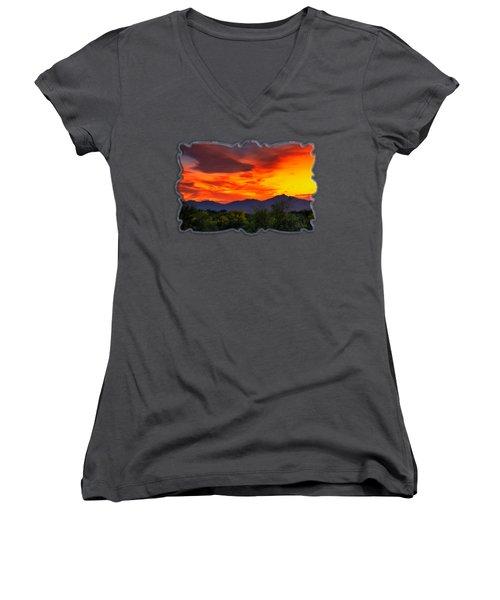 Valley Sunset H32 Women's V-Neck T-Shirt