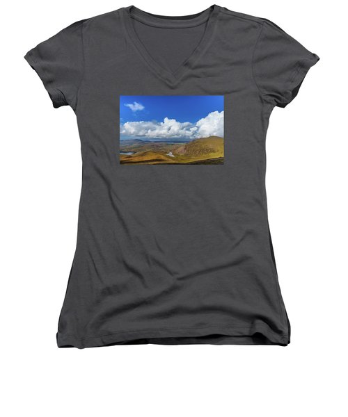 Women's V-Neck T-Shirt (Junior Cut) featuring the photograph Valleys And Mountains In County Kerry On A Summer Day by Semmick Photo