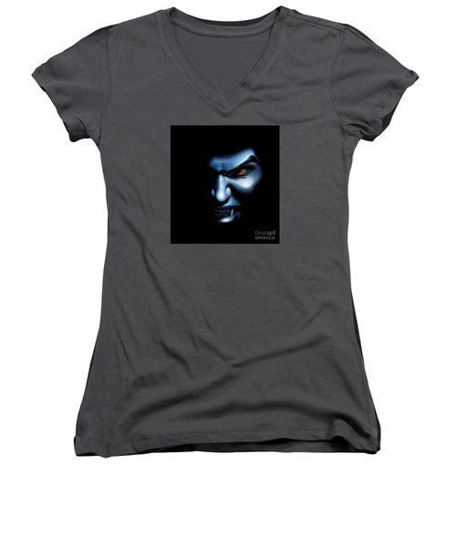 Women's V-Neck T-Shirt (Junior Cut) featuring the drawing Vampires Rage by Brian Gibbs