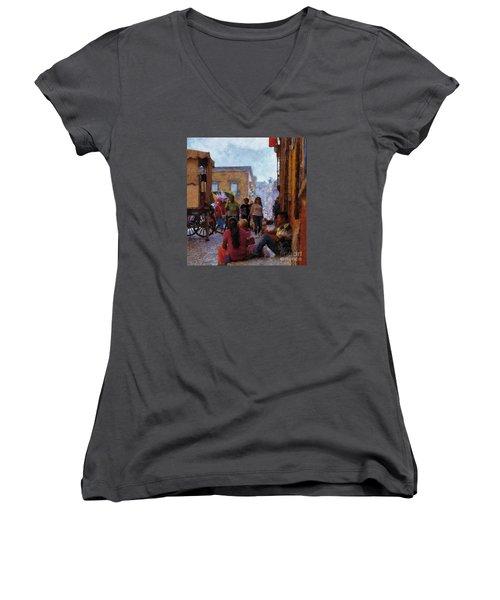 Women's V-Neck T-Shirt (Junior Cut) featuring the photograph Van Gogh Visits Mexico by John  Kolenberg