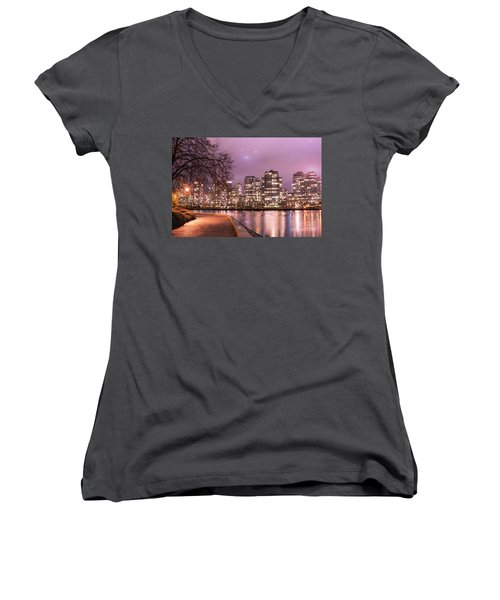 Women's V-Neck T-Shirt (Junior Cut) featuring the photograph Vancouver, Canada by Juli Scalzi