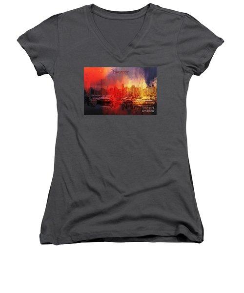 Vancouver Women's V-Neck T-Shirt (Junior Cut) by Eva Lechner