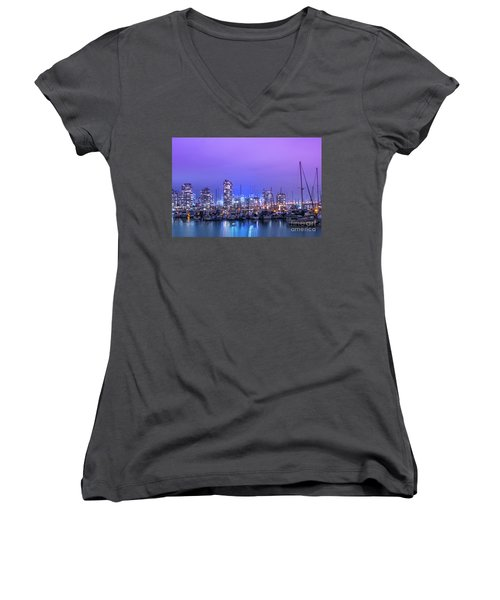 Women's V-Neck T-Shirt (Junior Cut) featuring the photograph Vancouver by Juli Scalzi