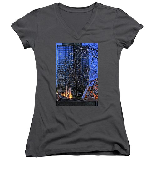 Vancouver - Magic Of Light And Water No 1 Women's V-Neck T-Shirt (Junior Cut) by Ben and Raisa Gertsberg
