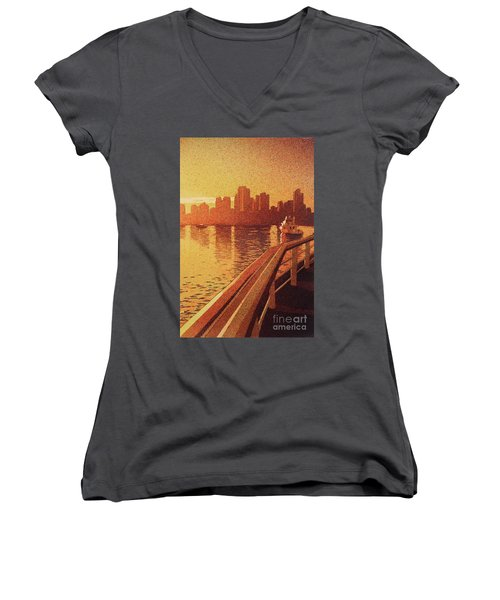 Vancouver Morning- Bc Women's V-Neck T-Shirt (Junior Cut) by Ryan Fox
