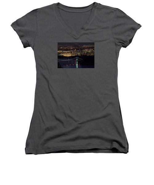 Vancouver Night From Cypress Mountain Women's V-Neck