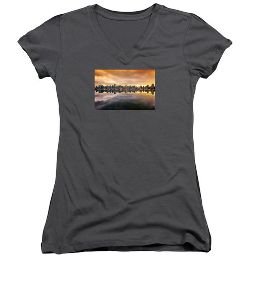 Women's V-Neck T-Shirt (Junior Cut) featuring the photograph Vancouver Reflections by Eti Reid