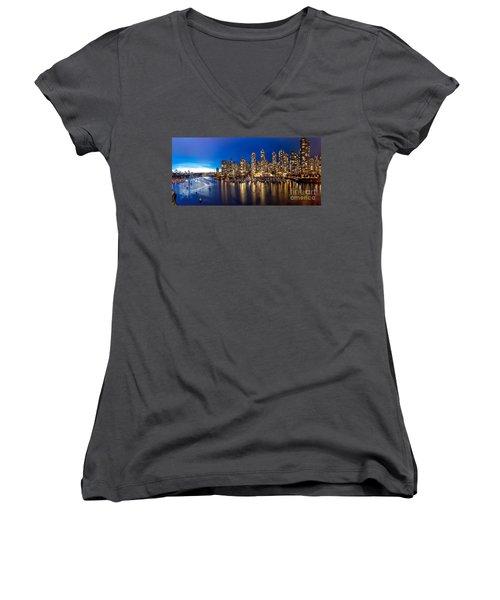 Vancouver Skyline Women's V-Neck T-Shirt (Junior Cut) by Rod Jellison