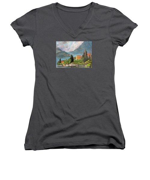 Varenna Italy Women's V-Neck T-Shirt (Junior Cut) by Donna Tucker