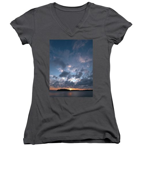 Women's V-Neck T-Shirt (Junior Cut) featuring the photograph Variations Of Sunsets At Gulf Of Bothnia 5 by Jouko Lehto