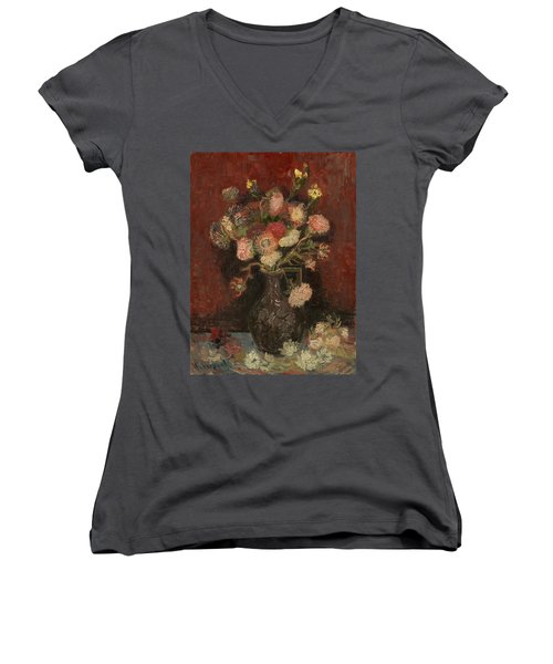 Vase With Chinese Asters And Gladioli Women's V-Neck