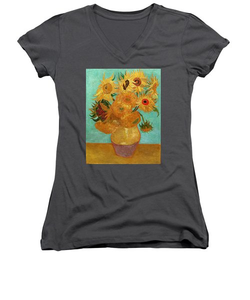Women's V-Neck featuring the painting Vase With Twelve Sunflowers by Van Gogh