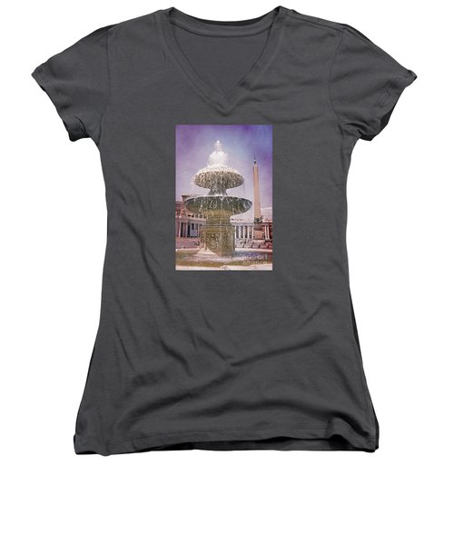 Vatican City Fountain Women's V-Neck T-Shirt