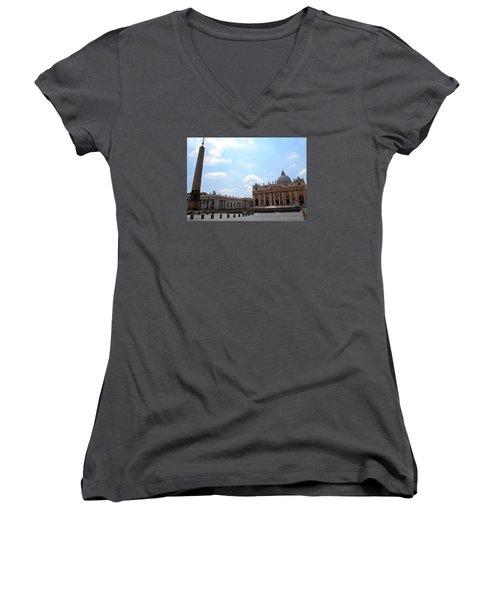 Women's V-Neck T-Shirt (Junior Cut) featuring the photograph Vatican On Sunny Day by Robert Moss